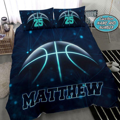 Basketball Blue Light Custom Name Duvet Cover Bedding Set #1308V