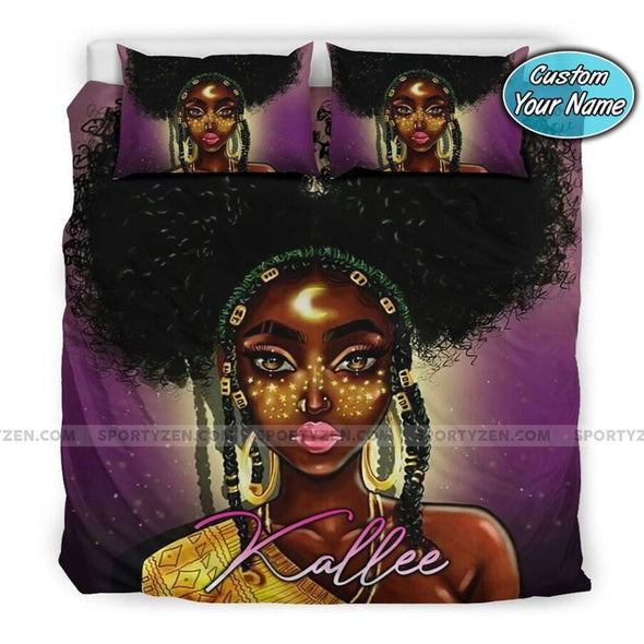 Black Girl Moon Custom Name Duvet Cover Bedding Set #207V
