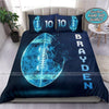 Blue Tech Light Football Ball Custom Duvet Cover Bedding Set with Your Name #0508v
