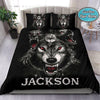 Horrible Wolf under The Moon Custom Duvet Cover Bedding Set with Your Name #408v