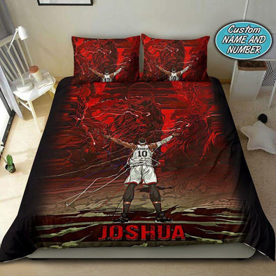 Basketball Red Lion Custom Duvet Cover Bedding Set with Your Name #317v