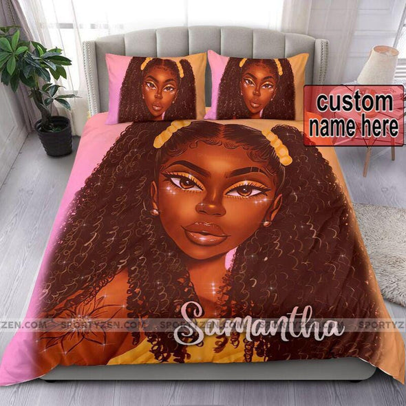 Black girl with afro hair style African Custom Name Duvet Cover Bedding Set #1706v