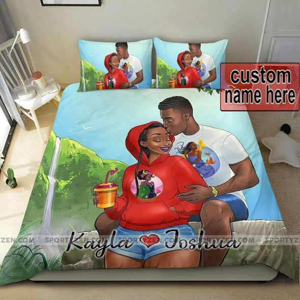 Happy black couple Custom Name Duvet Cover Bedding Set #2206v