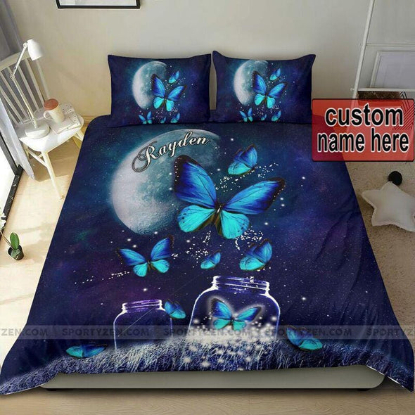 Butterfly in the beautiful night Custom Name Duvet Cover Bedding Set #0206v