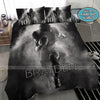 Football Man Smoke Black White Custom Duvet Cover Bedding Set with Your Name #508V