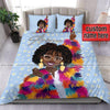 Colorful Happy Black Girl Daisy background Custom Name  Duvet Cover Bedding Set #17v