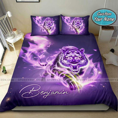 Purple Light Tiger Custom Name Duvet Cover Bedding Set #108v