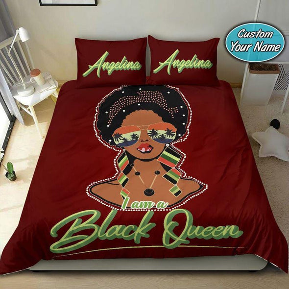 I am a Black Queen Crown Custom Duvet Cover Bedding Set with Your Name #68v