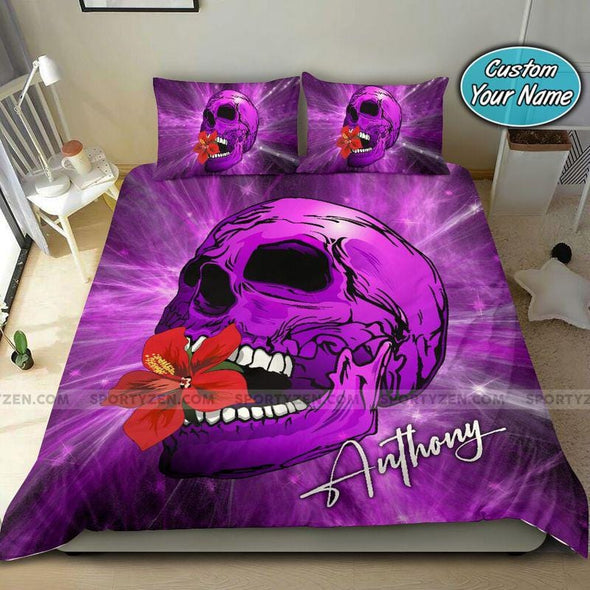 Purple Light Skull Hibiscus Custom Duvet Cover Bedding Set with Your Name #0508v