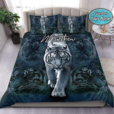 White Tiger Walking Custom Name Duvet Cover Bedding Set #1108V