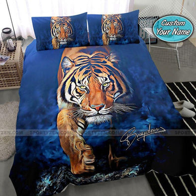 Tiger Art Blue Background Custom Name Duvet Cover Bedding Set #2007V