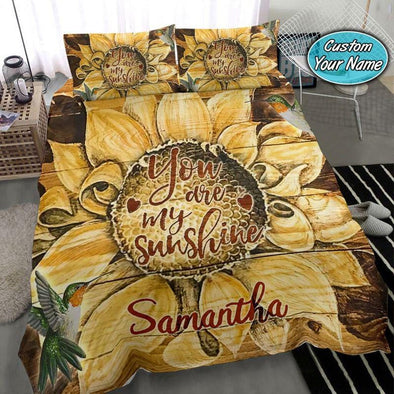 Unique Sunflower Hummingbird Tou're My Sunshine Bedding Custom Name Duvet Cover Bedding Set #408V