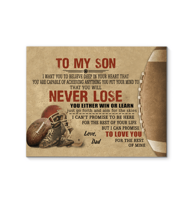 You will never lose You either win or learn Football Canvas Print