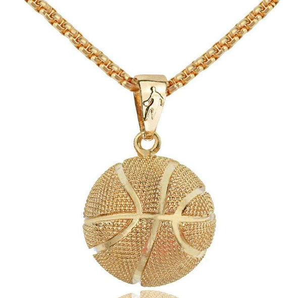 Sportyzen Necklace Basketball Pendant Necklace Gold Stainless Steel Chain Basketball Lovers Gift