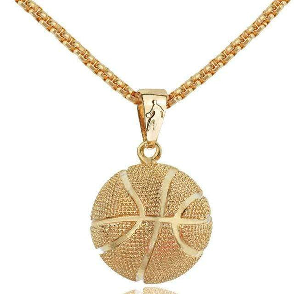 Sportyzen Necklace NM003G Basketball Pendant Necklace Gold Stainless Steel Chain Basketball Lovers Gift