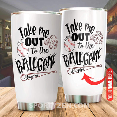 zpod Personalized Baseball Tumbler Take me out to the ballgame 20z Double-walled Stainless Stell #173h