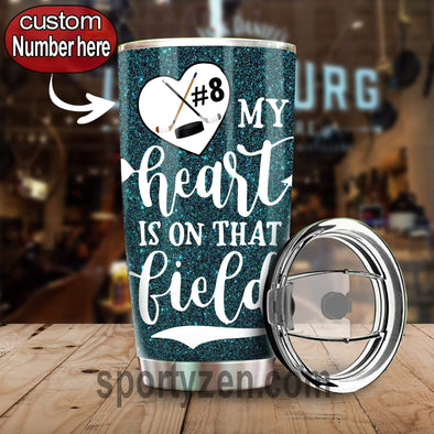 zpod Personalized Hockey Tumbler My heart is on that field 20z Double-walled Stainless Stell