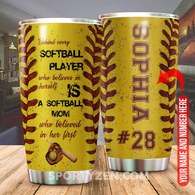 zpod Personalized Softball Tumbler Behind every softball player 20z Double-walled Stainless Stell #1403h