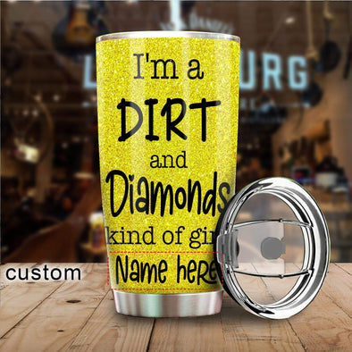 zpod Personalized Softball Tumbler I'm A Dirt and Diamonds Kinda Girl 20z Double-walled Stainless Stell