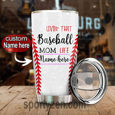 zpod Personalized Softball Tumbler Livin' that baseball mom life 20z Double-walled Stainless Stell #143v