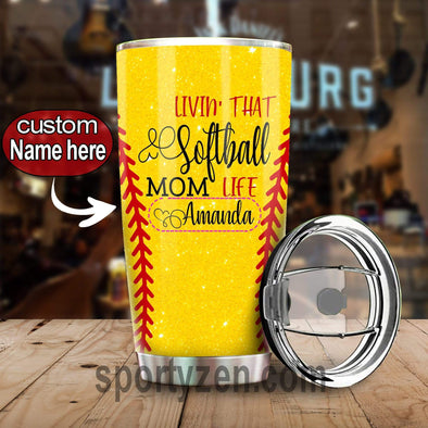 zpod Personalized Softball Tumbler Livin' that softball mom life 20z Double-walled Stainless Stell