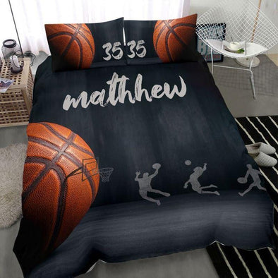 Big Ball Small Hoop Basketball Custom Duvet Cover Bedding Set with Your Name #H