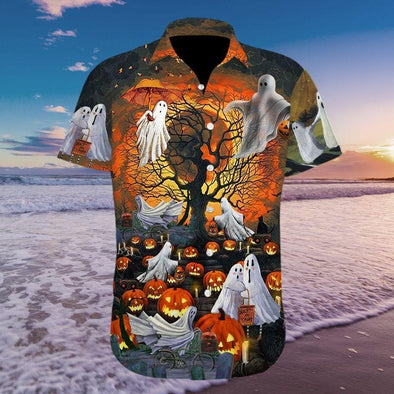 Halloween God Pumpkin Hawaiian Aloha Shirts #H