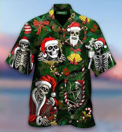 Hawaiian Aloha Shirts Merry Christmas Skull Santa