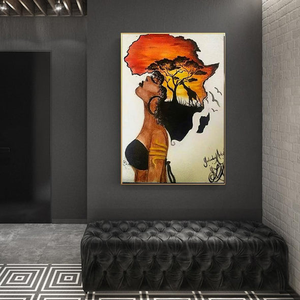 African Women Black Girl with wildlife canvas print wall art