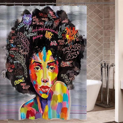 African Beauty Afro Black Woman Bathroom Shower Curtain