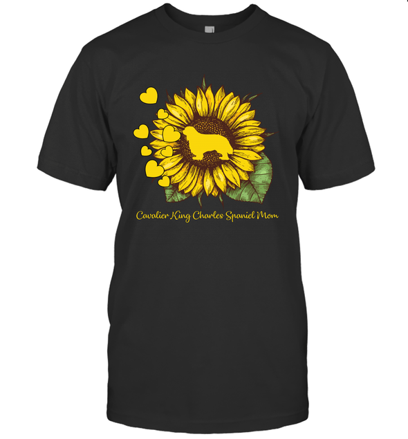 Dog Mom Cavalier Lovers Hippie Style Women Gifts Sunflower T-Shirt