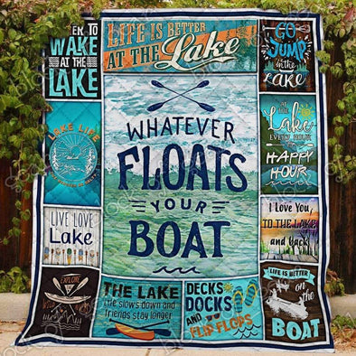 lionnix quilt Lake Lover Boat All Season Quilt Throw Blanket