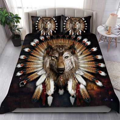 Native American Wolf Victory Headress Custom Name Duvet Cover Bedding Set #DH