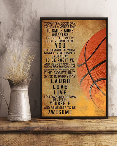 Basketball Today Is A Good Day Canvas Print Wall Art