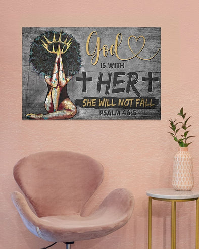 God With Her She Will Not Fall Canvas Wall Art