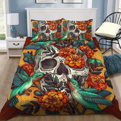 Hummingbird Skulls With Dahlia Flower Duvet Cover Bedding Set
