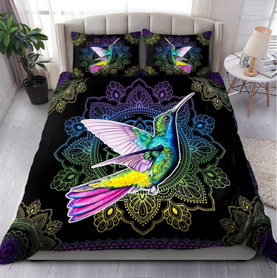 Amazing Rainbow Hummingbird Mandala Custom Name Duvet Cover Bedding Set