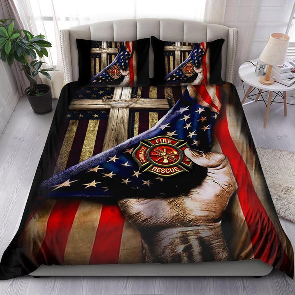 Jesus Christ Proud American Firefighter Duvet Cover Bedding Set