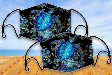 Turtle Sea Blue 3D Face Mask #V