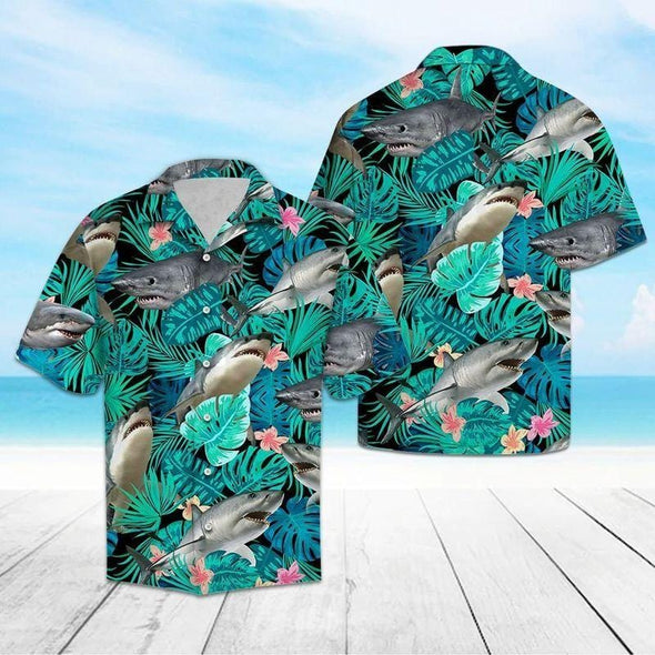 Cool Shark Summer Vibe Tropical Hawaiian Aloha Shirts #V
