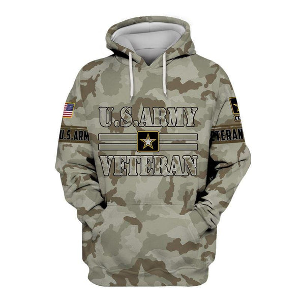 Soldier American US Army Veteran Hoodie 3D All Over Print Custom Name #V