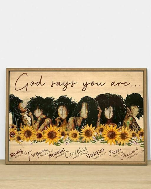 Black Woman God says you are Sunflower Canvas Wall Art