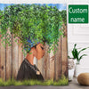 Black Girl Green Tree Hair Shower Curtain Custom Name #V