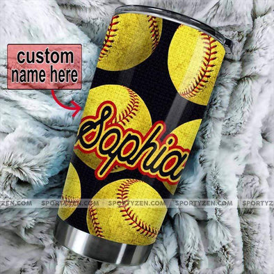 manual Softball Ball pattern Custom Tumbler Cups 20 Oz Stainless Steel #0705v