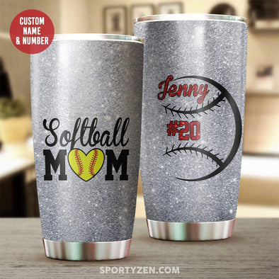 manual Softball Mom Tumbler 20 Oz Stainless Steel #203l