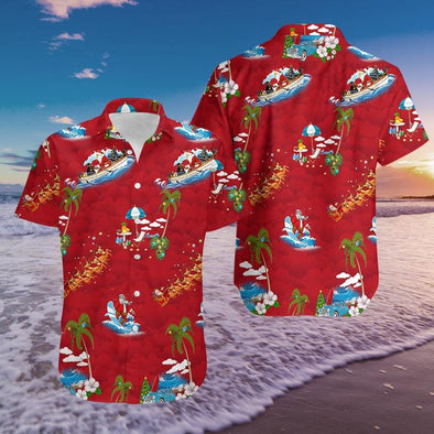 Merry Christmas Santa Claus Red Hawaiian Aloha Shirts