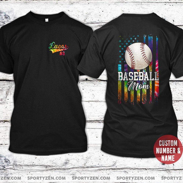 manual T-shirt Custom Baseball Mom T-shirts with Name and Number #160420L