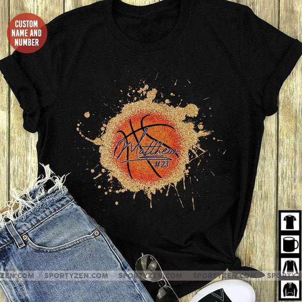 manual T-shirt Custom Basketball Ball T-shirts with Name and Number #2704L