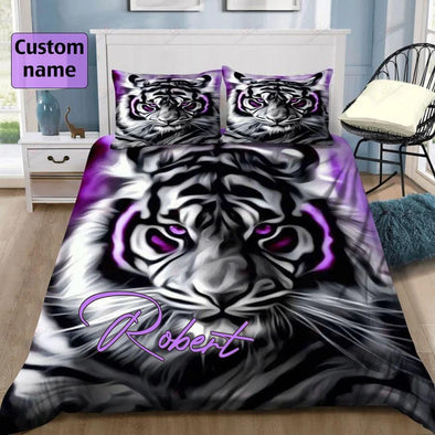 Tiger Light Purple Custom Name Duvet Cover Bedding Set $V