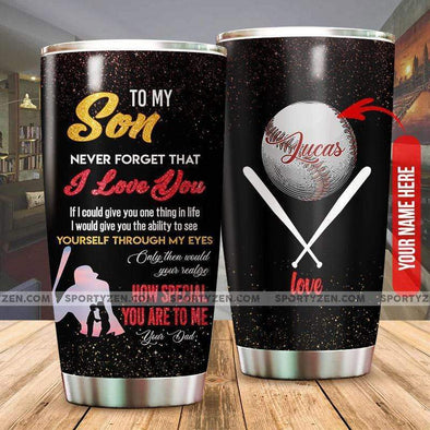 manual To my son How special you are to me Custom Baseball Tumbler Cups 20 Oz Stainless Steel #0506h